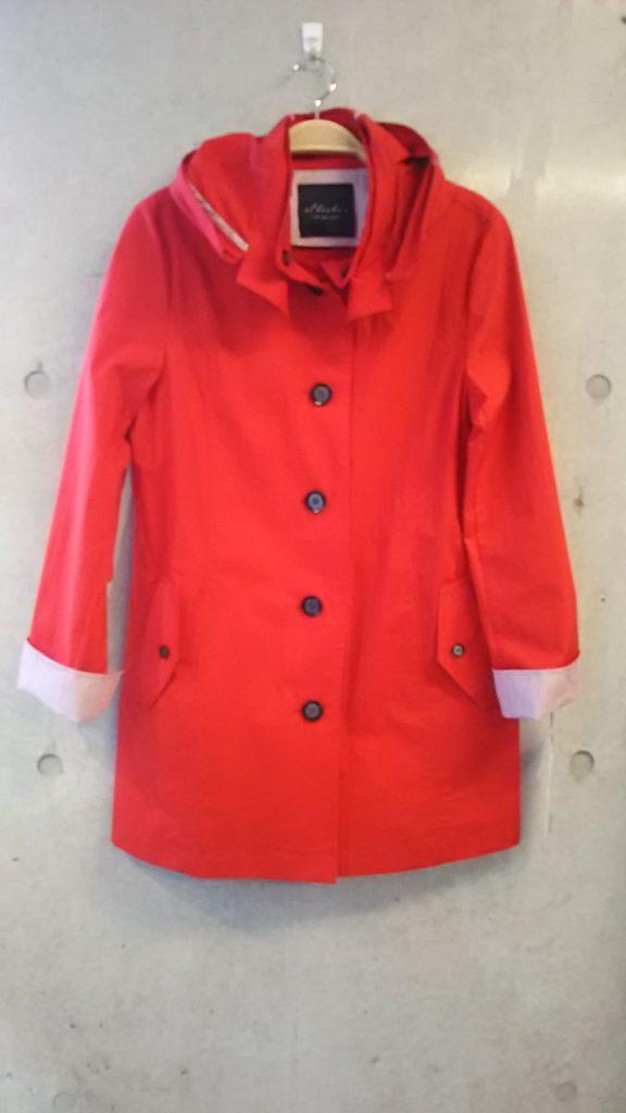 春、コート、ストライプ、赤